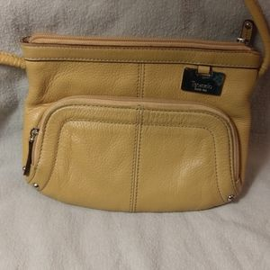 Tignanello yellow cross body purse